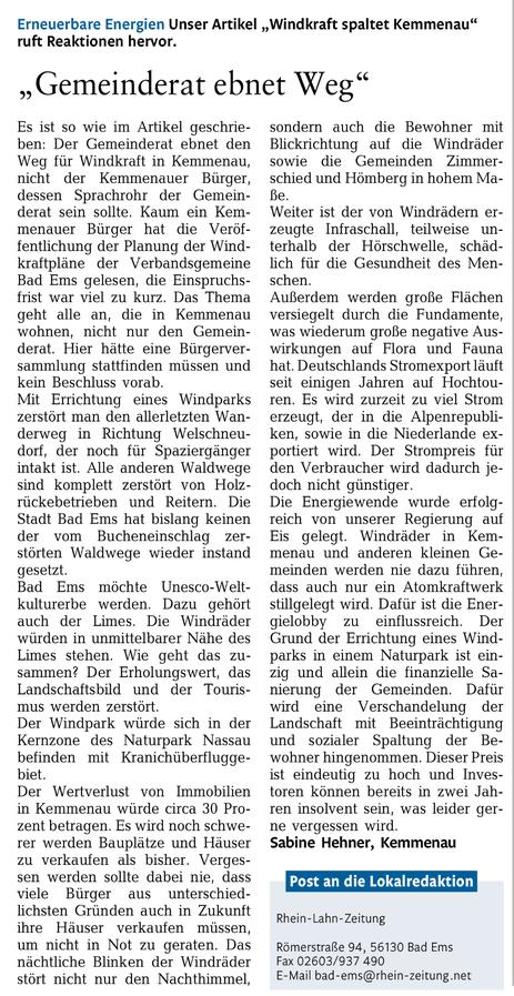 Rhein-Lahn-Zeitung v. 13.04.2015
