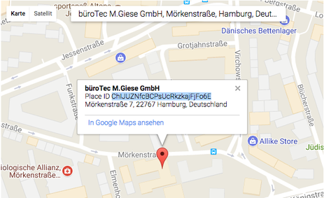 Place ID bei Google Places kopieren