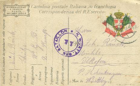 Bei dieser Karte handelt es sich um eine italienische Armee-Feld-Post-Karte die er sich wohl aus dem zurückgelassenen Material der ital. Armee angeeignet hat.
