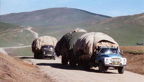 LKWs voller Wolle und Felle, Mongolei, aufgenommen von ritsch-ratsch