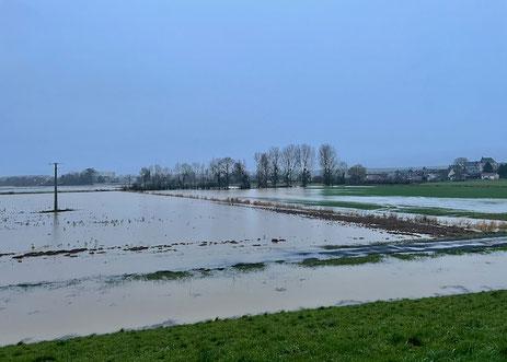 La Serre à Montigny-sous-Marle ce matin. Tout est à blanc d'eau.