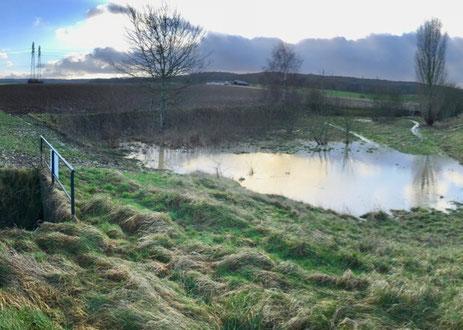 Bassin en amont de la ravine de Glatigny mobilisé ce lundi 22 janvier.