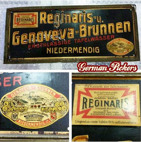 Reginaris - u. Genoveva - Brunnen Erstklassige Tafelwässer Niedermendig / Laacher See - Blechschild  Deutschland um 1910  13 x 30 cm, Hersteller Stollenwerk Papier Köln