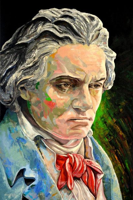Mit Acrylfarben gemaltes Porträt des Komponisten Ludwig van Beethoven.