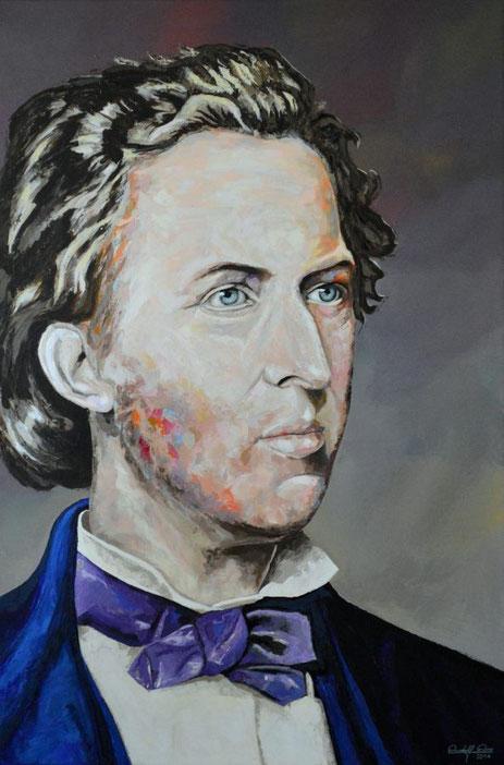 Modernes Acrylgemälde des polnisch-französischen Komponist und Pianisten Frederic Chopin.