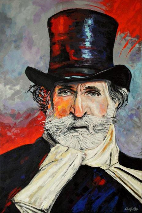 In Acrylfarben gemalt und gespachteltes Porträt des berühmten italienischen Komponisten.