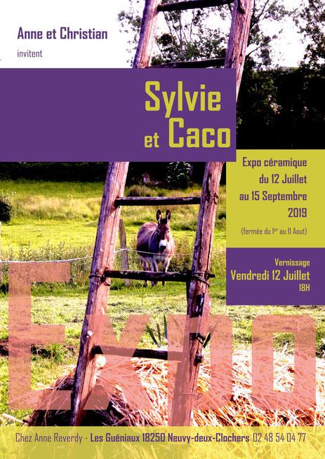 """Affiche de l'exposition de """"Caco et Sylvie"""" -Juan José Ruiz et Sylvie Ruiz Foucher- à Neuvy les deux Clochers -18-"""