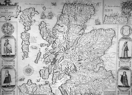 Map of the Kingdom of Scotland von John Speede, 1676. Kopie einer Mercator-Karte aus dem 16.Jh., National Museum of Scotland