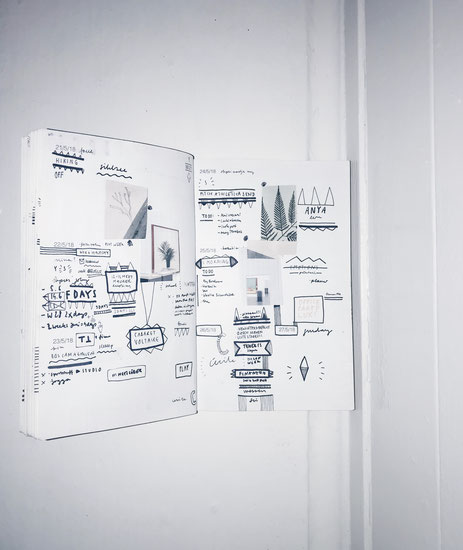 """This is my weekly PLANNER scan WEEK 21 // 2018.   Trough planning, sketching and living new designs and inspirations arise weekly in my inhouse designed PLANNER which I use as a sketchbook, moodboard and notebook. I publish the scan every Monday in my """"wo"""