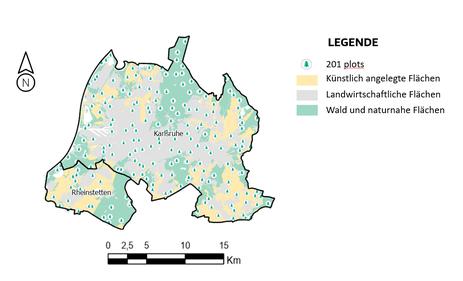 Übersicht der Testflächen in Karlsruhe für die erste Messkampagne