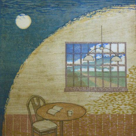 見えない月を眺めるように 38×38㎝ 木版画凹凸版刷り