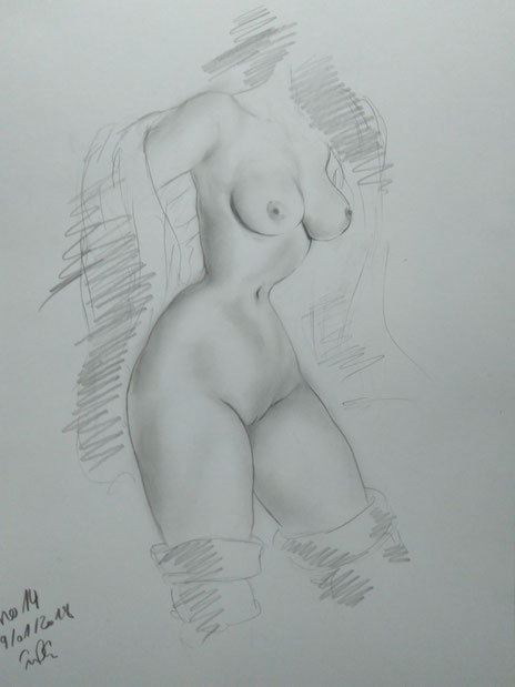 Female Nude Drawing 14-1-kissing