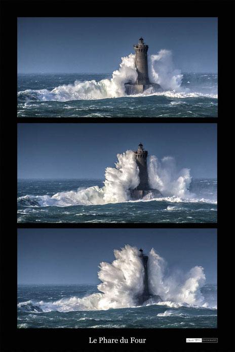 Bretagne, la vague sur le phare du Four