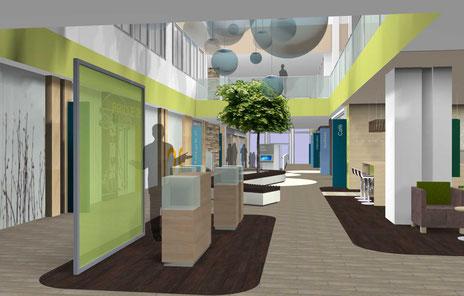 Fotorealistische 3D-Darstellung eines Ärtezentrums