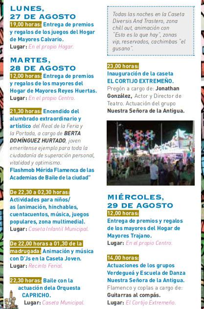 Programa de la Feria y Fiestas de Merida Septiembre