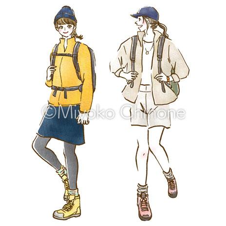 登山ファッションコーデ イラスト