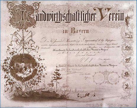 Urkunde zur Vereinsgeschichte Kreisverband für Gartenbau und Landespflege Rosenheim e.V.