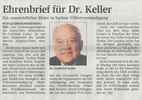 Ehrenbrief für LF Keller