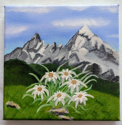Bergromantik Edelweiß, 20cmx20cm auf Leinwand