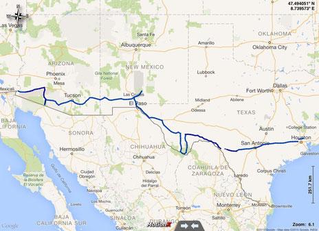 gefahrene Route durch Arizona, New Mexico und Texas