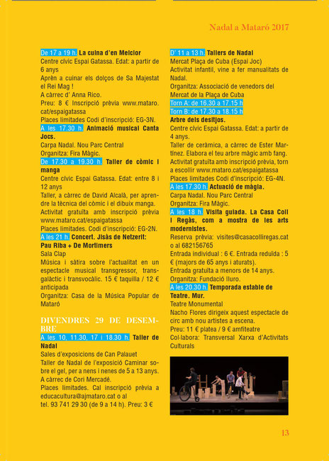 Programa de la Navidad en Mataró Fira de Pessebres