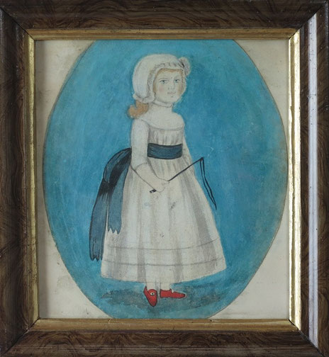 Naive folk art watercolor of a girl in a bonnet with whip