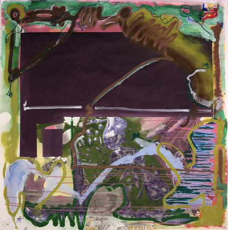 o.T., 2021, Mixed Media auf Papier, 150x 149 cm