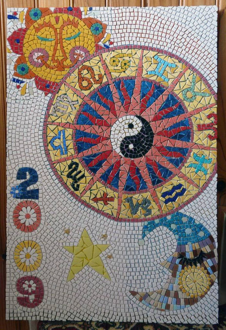 mosaïque, émaux, roue du zodiaque
