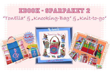 Ebooks, Ebook Set, Knit-to-go-, TonElla, Knooking-Bag, Handarbeitstasche, Musiktasche