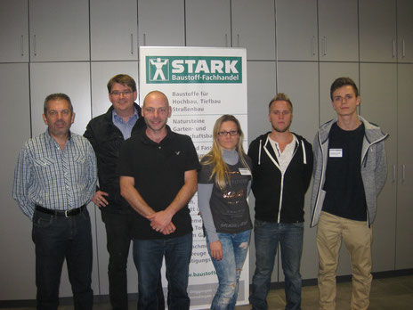 von links nach rechts: Martin Kienzler (Personalleiter), Christian Stark, Tim Stamm, Melanie Oppermann, Alexander Kiefer und Sebastian Schödel
