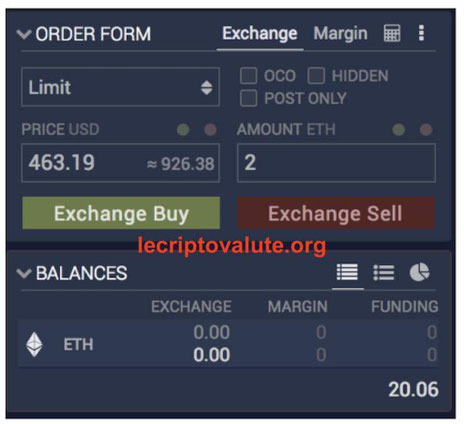 ethfinex exchange tipologia di ordini