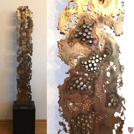 Brass sculpture Monomorphe Struktur, 1989, Jürgen Klöck