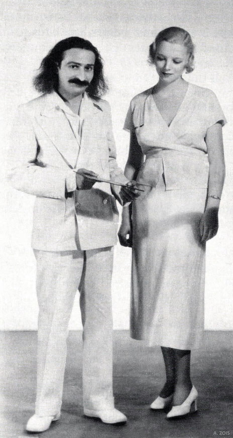 1st JUne 1932 : Meher Baba with Virginia Bruce at MGM Studios, Hollywood, CA. Cropped image by Anthony Zois