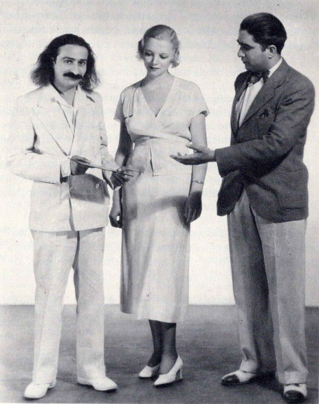 1st JUne 1932 : Meher Baba with Virginia Bruce & Lal C. Mehra at MGM Studios, Hollywood, CA.
