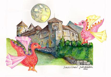 kurze Animation einer Zeichnung mit Burg, Drache und Mond / Titel: Burgfestspiele