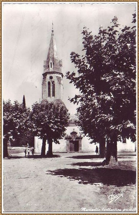 Gujan-Mestras autrefois : Eglise Saint Maurice, Bassin d'Arcachon (carte postale, collection privée)
