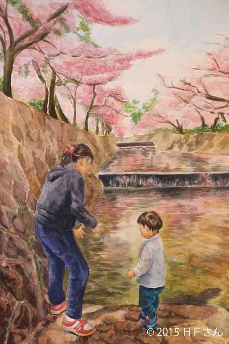 「夙川桜と子どもたち」(兵庫県HFさん)