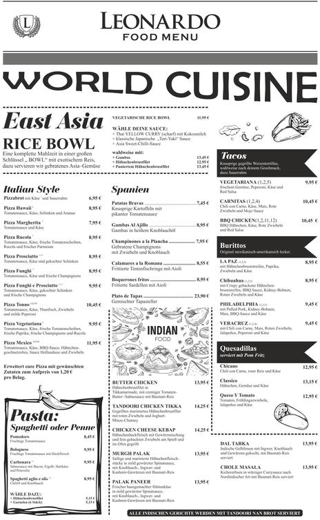 Cafe Leonardo© -World Cuisine mit Pizza, Pasta, Tacos, Burittos, East Asia & India