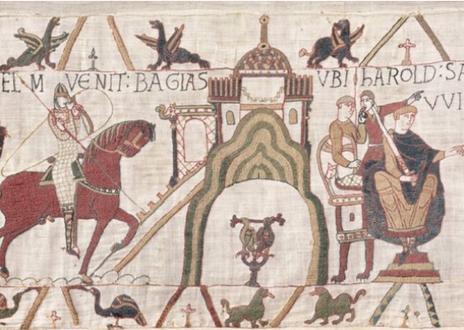tapisserie de Bayeux, une oeuvre unique au monde du XIème siècle relatant la Conquête de l'Angleterre par Guillaume, Duc de Normandie