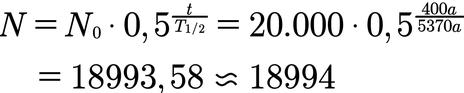 Beispiel für die Berechnung der Anzahl von Atomen nach gewisser Zeit