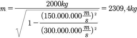 Beispiel für die Berechnung der Masse nach der Relativitätstheorie