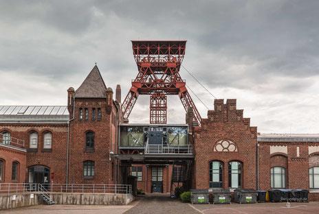 Fördergerüst oder Förderturm Zeche Rheinpreußen in Moers, Ruhrgebiet, Deutschland, Industriekultur, Industrie, Zechen, Bergbau, Steinkohle
