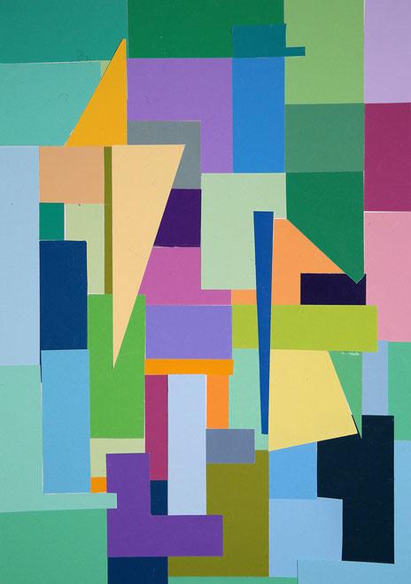 Frühlingserwachen. Collage mit Coloraid Farbpapieren ©Art-i.de 2016