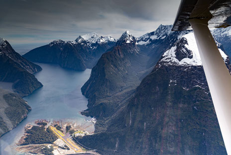 Milford Sound from Above. Aerial photo