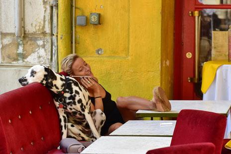 Andreas Maria Schäfer, Fotografiewelten, Fototipps, fotograph1956, Streetfotografie, Frauchen,Hund,Provence,Arles, Rot,Gelb,Smartphone,Langweile