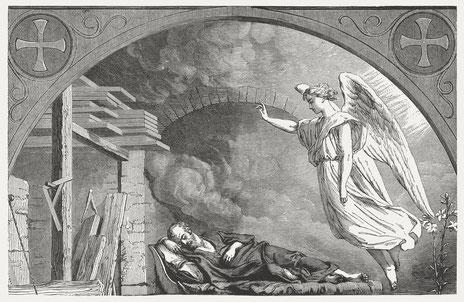 Ein Engel erscheint Joseph im Traum, Holzschnitt aus dem Jahr 1886