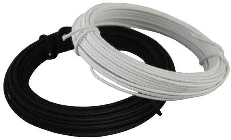 Modistendraht, schwarz, weiß, Stärken 0,8-1,5 mm