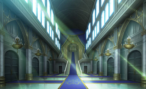 ↑謁見の間に続く廊下のイラスト