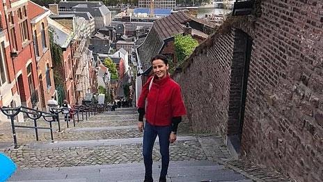 Janine Teucher auf der Montagne de Bueren in Lüttich