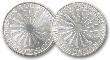 10 DM Münzen Olympiade 1972